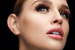 Fake Eyelashes. Beautiful Woman With Makeup And Beauty Face. Fake Eyelashes. Portrait Of Beautiful Woman With Professional Makeup And Smooth Soft Skin. Female stock image