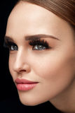 Fake Eyelashes. Beautiful Woman With Makeup And Beauty Face stock images