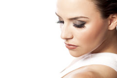 Fake eyelashes. Portrait of a young beautiful woman with fake eyelashes Stock Images