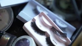 Fake false eyelashes stock footage