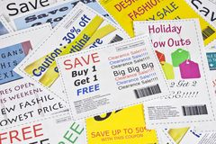 Fake Fashion Coupon Clippings Background Royalty Free Stock Photos