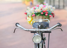 Fake flower in basket on Vintage  bicycle Stock Photography