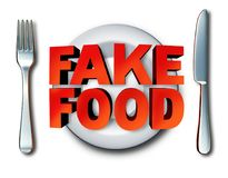 Fake Food Concept. Fake food and counterfeit meal as a plate with fraudulent foods as ingredients fraud misrepresenting a product at the market as a 3D Royalty Free Stock Photo