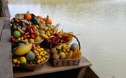 Fake Fruit. Colorful of Fake Fruit On a wooden boat Royalty Free Stock Images