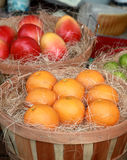 Fake fruits on display. In wooden baskets with a piece of fake aged cheese in the background royalty free stock photo