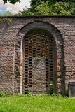 Red brick wall with archway royalty free stock images