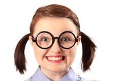 Fake geeky-looking teenage girl Stock Photo