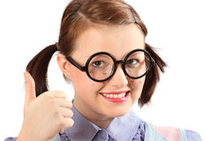 Fake geeky teenage girl Stock Image