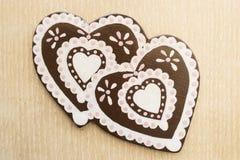 Fake Gingerbread hearts Royalty Free Stock Image