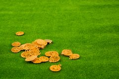 Fake gold coins on grass royalty free stock images