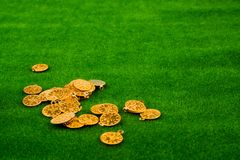 Fake gold coins on green grass. Fake gold coins on green scattered on grass stock images