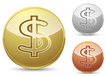 Fake gold silver and bronze coins. Isolated on white Royalty Free Stock Photography
