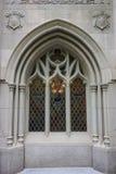 Fake gothic window in New York city. Fake gothic window in Tudor city, Manhattan, New York city, USA Stock Image