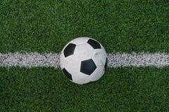 Fake grass soccer field Stock Photos