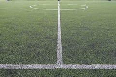 Fake grass soccer field Stock Photo