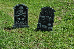 Fake  halloween  tombstones. Two   tombstones  for  halloween  fright Stock Photography