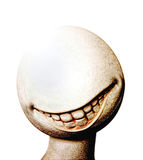 Fake happiness. Processed image of a showcase head, displaying a disturbing smile with large teeth. Illustration of a fake happiness, produced by pills in a Stock Photos