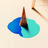 Fake ice cream flows down on the floor. fashion background Stock Images