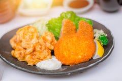 Fake Japanese Tonkatsu food plastic display Royalty Free Stock Photography