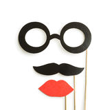 Fake lips, glasses and mustaches on sticks Royalty Free Stock Photos