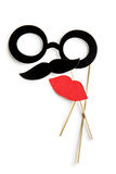 Fake lips, glasses and mustaches on sticks Royalty Free Stock Images