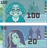 Fake Money Grandma 100 and Girl 20 vector. Fake Money illustration clip-art vector eps file Stock Image