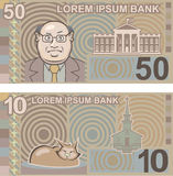 Fake money 50 and 10 Stock Photography