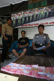 Fake money. Police arrest fake money dealers in the city of Solo, Central Java, Indonesia stock photos