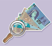 Fake Money Under Magnifying glass Vector Stock Photo