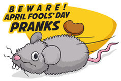 Fake Mouse with Mainspring for Funny Pranks in Fools` Day, Vector Illustration Royalty Free Stock Photos