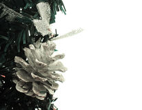 Fake new year tree. And Cones in pine isolated Stock Images