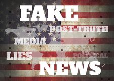Free Fake News And Associated Text Over World Map And USA Flag Stock Photos - 100270873