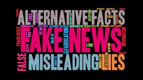 Fake News Animated Word Cloud. On a black background stock video