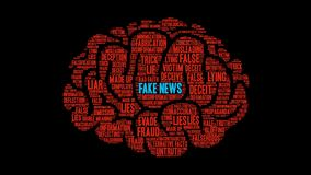 Fake News Animated Word Cloud. On a black background stock footage