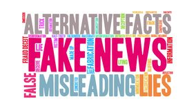 Fake News Animated Word Cloud. On a white background stock video footage