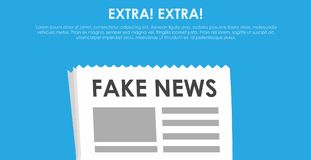 Fake news banner. Blue background with newspaper and speaker Royalty Free Stock Image
