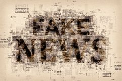 Fake news concept. Graphic illustration with letters and patterns royalty free stock photography