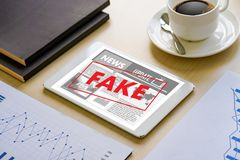 Fake news concept man reading news media technology on smartphon. E just Fake royalty free stock photos