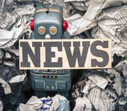 Fake news. Concept wirh toy robots Stock Images
