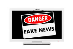 Fake News Danger Sign over TV Screen. 3d Rendering Royalty Free Stock Photography