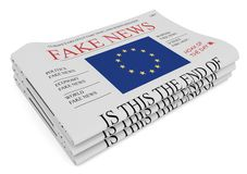 Fake News European Union Concept: Pile of Newspapers With EU Flag, 3d illustration vector illustration