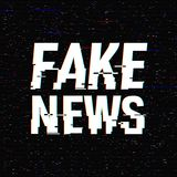 Fake News glitch text. Anaglyph 3D effect. Technological retro background. Vector illustration. Creative web template. Flyer, post. Er layout. Computer program stock illustration