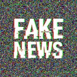 Fake News glitch text. Anaglyph 3D effect. Technological retro background. Vector illustration. Creative web template. Flyer, poster layout. Computer program Stock Photo