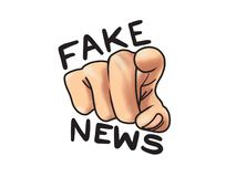Fake News Hand Pointing You Cartoon Illustration. You are fake news, finger pointing at the media Royalty Free Stock Image
