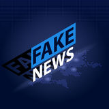 Fake News headline in blue dotted world map background. Isometric Vector illustration Royalty Free Stock Photo
