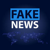 Fake News headline in blue dotted world map background. Vector illustration Royalty Free Stock Image