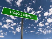 Fake news. An illustration of a road sign with the text 'fake news Stock Image