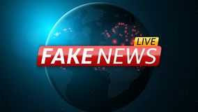 Fake news live and abstract planet earth. Red glossy banner with text. Space and stars. High tech. Vector Royalty Free Stock Image