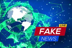 Fake News Live with World Map on Blue Background. Royalty Free Stock Photos