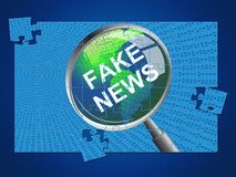 Fake News Magnifier And Jigsaw 3d Illustration royalty free illustration